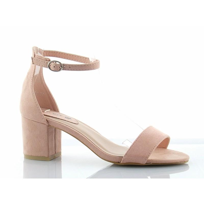 6ac9103ab57ab Klasyczne, bardzo eleganckie sandały na niskim słupku, z paskiem wokół  kostki i zakrytą piętą, zamszowe w kolorze różowym.