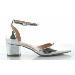 bc09cd3948108 Czółenka, sandały damskie na niskim słupku, z piętką, zapinane wokół  kostki, nosek szpic, kolor srebrny.