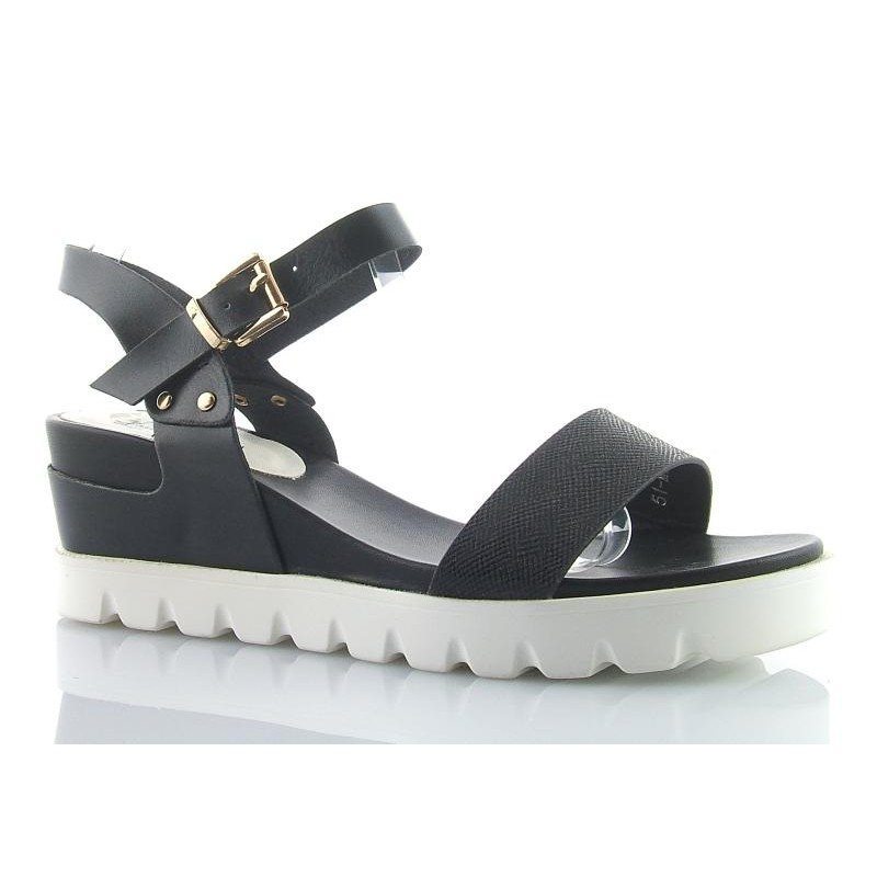 Modne ubrania Sandały SNEAK koturn na platformie czarne białe YP54