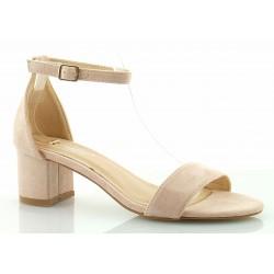 Sandały zamszowe na słupku 5 cm. pasek różowe