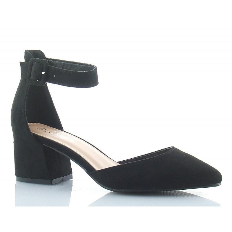 60e1669e245a2 Czółenka, sandały damskie na niskim słupku, zapinane wokół kostki, nosek  szpic, kolor czarny