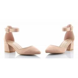25e0ce4bdbd3e0 Czółenka, sandały damskie na niskim słupku, zapinane wokół kostki, nosek  szpic, kolor pudrowy róż