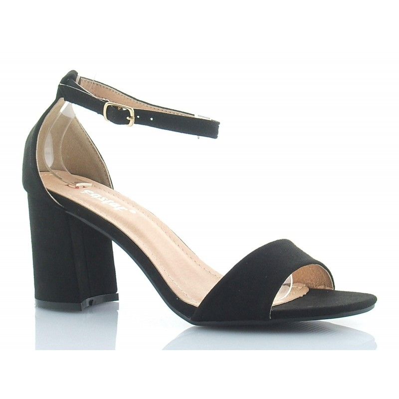 258b89affc5b1 Klasyczne, eleganckie sandały na średnim słupku, z paskiem i piętką,  zamszowe, czarne