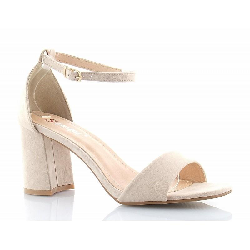 11cfb0aa290d88 Klasyczne, eleganckie sandały na średnim słupku, z paskiem i piętką,  zamszowe, beżowe