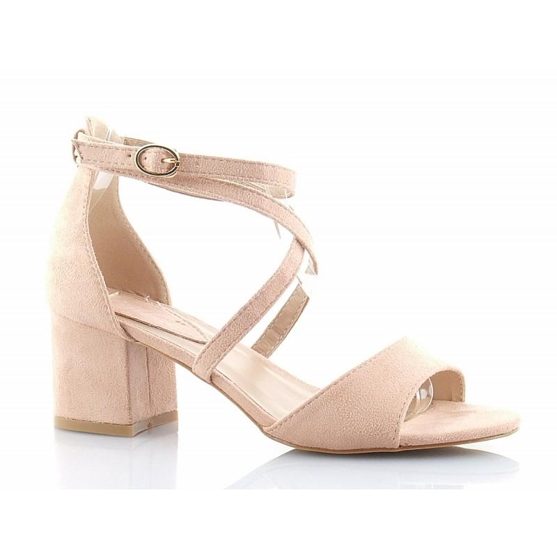 04f3a5e1d85381 Klasyczne, bardzo eleganckie sandały na niskim słupku, z paskiem wokół  kostki, zamszowe w kolorze różowym